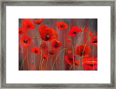 Fallen Memoirs- Red And Gray Art Framed Print