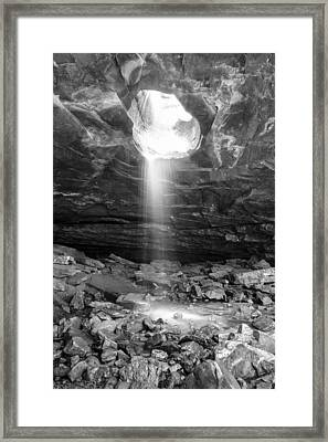 Falling Down - Glory Falls In Black And White Framed Print