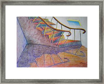 Falling Down The Stairs Framed Print