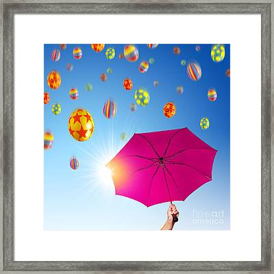 Falling Eggs Framed Print by Carlos Caetano