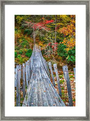 Falling Footsteps On A Wooden Bridge Framed Print