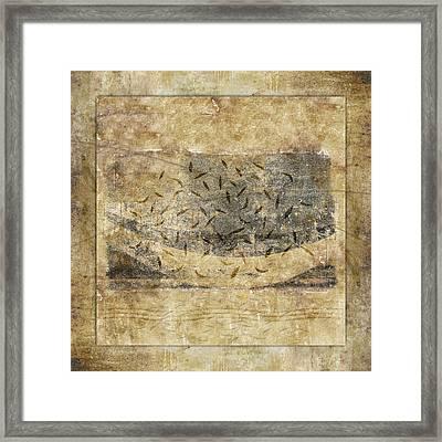 Falling Leaves Crescent Moon Framed Print