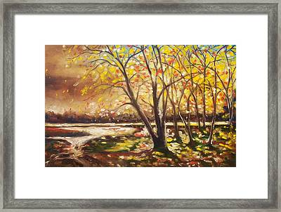Framed Print featuring the painting Falling Leaves by Emery Franklin
