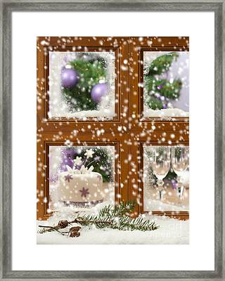 Falling Snow Window Framed Print