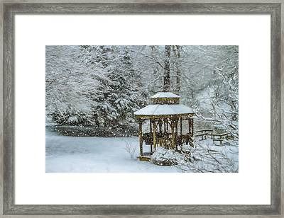 Falling Snow - Winter Landscape Framed Print by Barry Jones