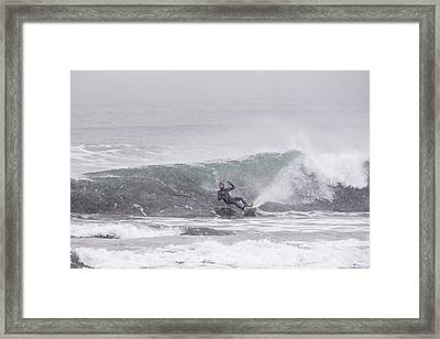 Falling Surfer In Falling Snow Framed Print by Tim Grams