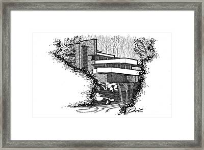 Framed Print featuring the drawing Falling Water by Calvin Durham
