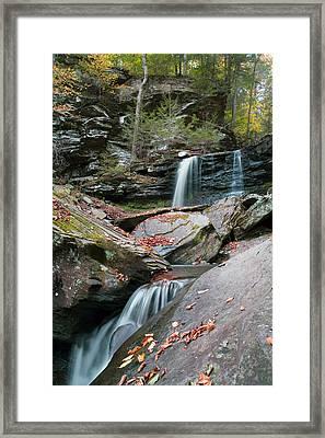 Falling Water Meets Fallen Leaves Framed Print by Gene Walls