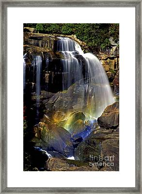 Falls And Rainbow Framed Print