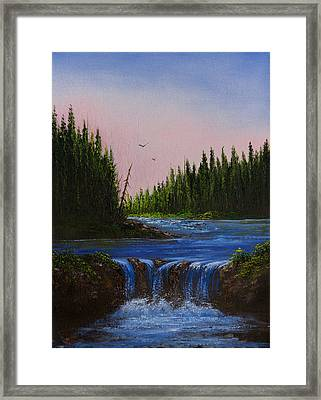 Falls At Rivers Bend Framed Print by C Steele