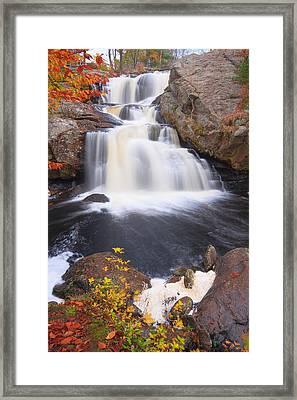 Falls In Fall Framed Print by Bryan Bzdula