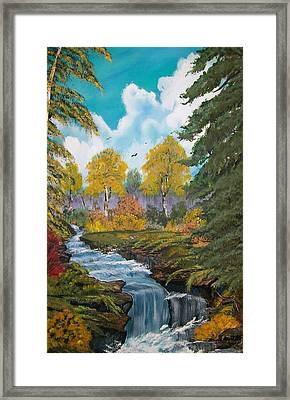 Framed Print featuring the painting Rushing Waters  Falls  by Sharon Duguay