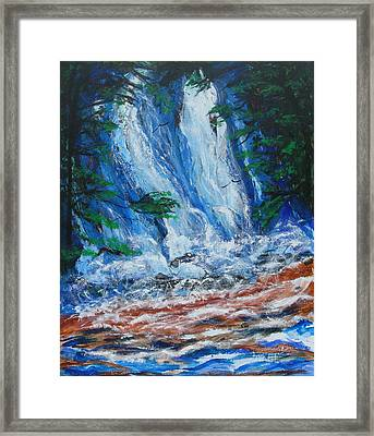 Waterfall In The Forest Framed Print by Diane Pape