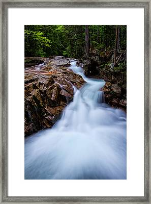 Falls In The Forest Framed Print by Jeff Sinon
