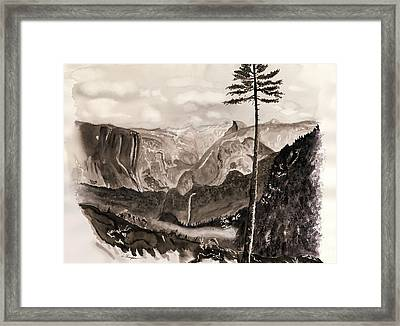 Falls Of The Yosemite Painting Framed Print by Warren Thompson