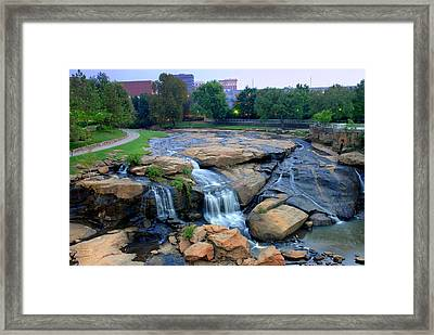 Falls Park Waterfall At Dawn In Downtown Greenville Sc Framed Print