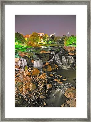 Falls Park Waterfall At Night In Downtown Greenville Sc Framed Print
