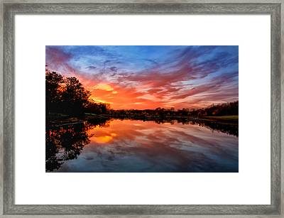 Fall's Reflection Framed Print by Aaron Thompson