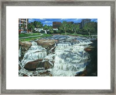 Framed Print featuring the painting Falls River Park by Bryan Bustard