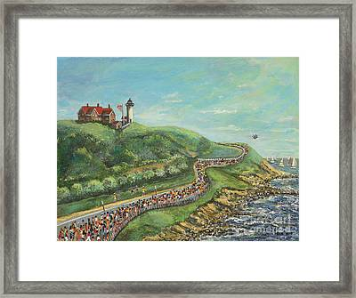Framed Print featuring the painting Falmouth Road Race by Rita Brown