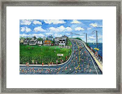 Falmouth Road Race Running Falmouth Framed Print by Rita Brown