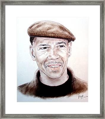 Falsely Imprisoned Boxer Dewey Bozella Framed Print by Jim Fitzpatrick