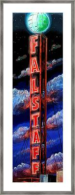 Falstaff Neon Tower Sign Framed Print by Terry J Marks Sr