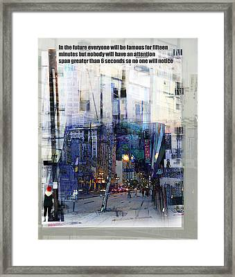 Fame On A Street Corner Framed Print by John Fish