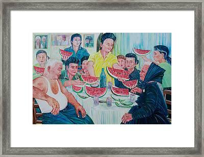 Framed Print featuring the painting Forenza Vita - Famiglia Caputo 1973 by Giovanni Caputo