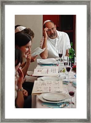 Family Around The Sedder Table Framed Print by Ilan Rosen