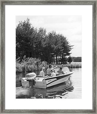 Family Boat Ride Framed Print by Underwood Archives