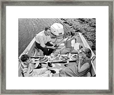 Family Boating Lunch Framed Print
