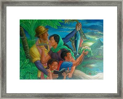 Family Bonding In Bicol Framed Print by Manuel Cadag
