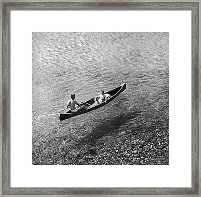 Family Canoe Excursion Framed Print by Underwood Archives