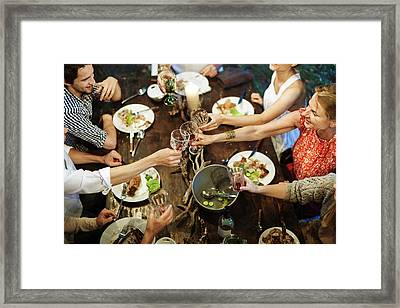 Family Celebrating Garden Party Framed Print by Hinterhaus Productions