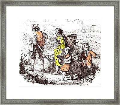 Family Coming Back From The Field 1855 Woman Man Mother Framed Print