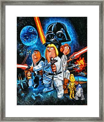 Family Guy Star Wars Framed Print by Joe Misrasi