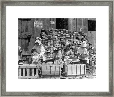 Family Hulling Berries Framed Print by Underwood Archives
