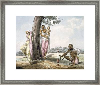 Family Man Smoking A Hookah And Girl Framed Print by Indian School