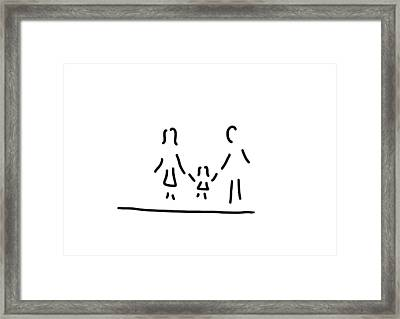 Family Mother Father Daughter Framed Print by Lineamentum