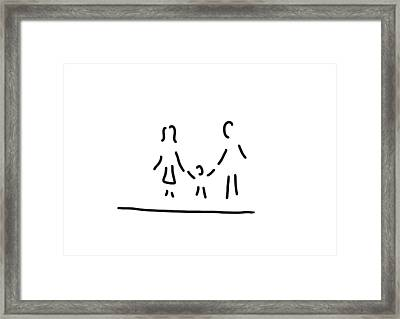 Family Mother Father Son Framed Print by Lineamentum