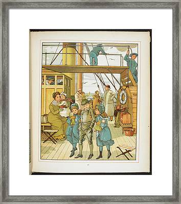 Family On Board A Passenger Ship Framed Print by British Library