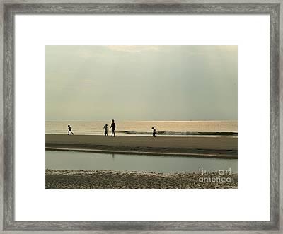 Family On Hunting Island Beach Framed Print by Anna Lisa Yoder