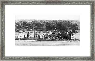 Family On Red River Ferry Framed Print by Underwood Archives