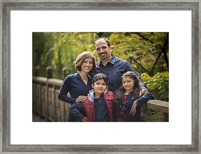Family Portrait On Bridge - 1 Framed Print