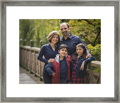 Family Portrait On Bridge - 2 Framed Print