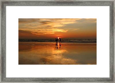 Family Reflections At Sunset -3  Framed Print