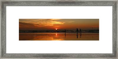 Family Reflections At Sunset - 4 Framed Print