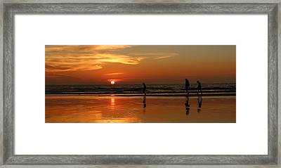 Family Reflections At Sunset - 5 Framed Print