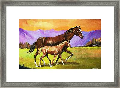 Framed Print featuring the painting Family Stroll by Al Brown